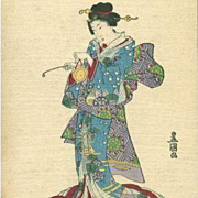 Signed Japanese Advertising Formosa Oolong Tea Postcard c1900