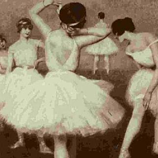 Russian Ballet Dancers Salon de Paris Vintage Postcard