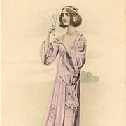 Vienne Art Nouveau Maiden with a Blossom Branch Postcard c1900