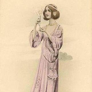 Maiden with a Blossom Branch Postcard c1900 Art Nouveau era.