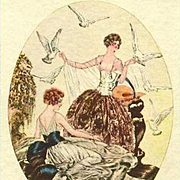 Art Deco Signed 'Ladies with Doves' Italian Postcard c1927