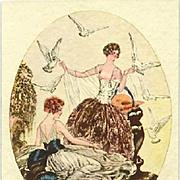 Art Deco Signed 'Ladies with Doves' Italian Postcard c1927
