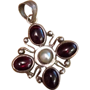 Sterling Silver Garnet and Faux Pearl Pendant