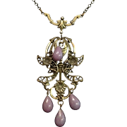 Edwardian Filigree Brass and Glass Bead Lavalier Necklace. c1910.