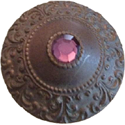Pressed brass and Pink Glass Shield Long Hatpin..Art Nouveau era.