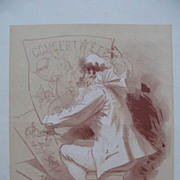 Significant Original French Les Maitres Lithograph  'Summer Concert' by Jules Cheret 1895