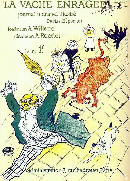 Toulouse-Lautrec Early Lithograph 1930 'La Vache Enragee'