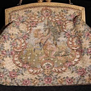 SALE:  French Tapestry Cupids Evening Purse/Bag. Art Deco era.