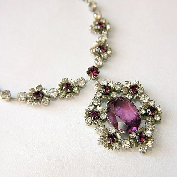 Stunning Flower Lavalier Necklace..Purple and Clear Rhinestones. To die for.