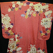 Superb Antique Kimono~Rose Pink Floral Silk/Satin Furisode with Gold Embroidery.