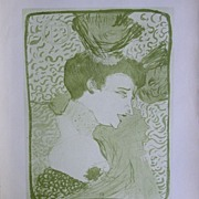 Toulouse-Lautrec Lithograph ~Portrait of an Actress~Limited Edition 1927