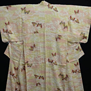 Butterfly Decorated Hand Painted Art Deco Peach/Cream Silk Kimono.