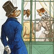 Original Grandville Signed French Engraving 'Courtship' 1854 from Les Metamorphosis du Jour.