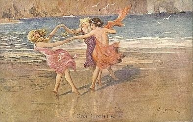 British Signed Artist 'Sea Urchins' Nymphs Postcard