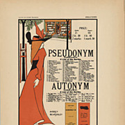 Original Antique French Lithograph by Beardsley 1897 Pseudonym Autonym Libraries