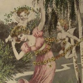 German Artist Fantasy Cherubs and Maiden  Postcard 1912.