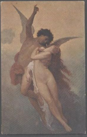 Italian Artist Angel & Nude Postcard  'Psyche and Cupid'