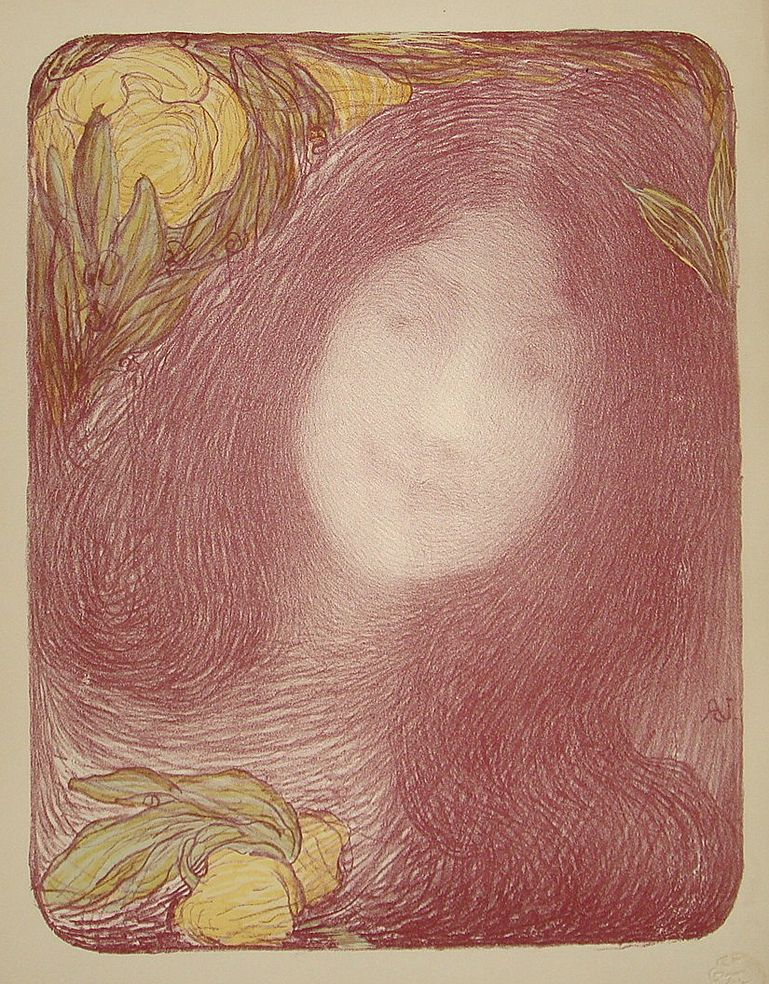 Original Signed French Lithograph~Under the Flowers~L'Estampe Moderne 1898. Art Nouveau era