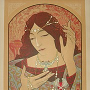 Original French L'Estampe Moderne Lithograph 'Invocation a la Madonna' 1897 Signed Lenoir. Art Nouveau era Rare.
