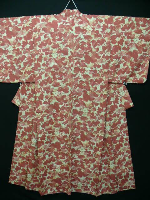 Pure Silk Crepe Rust and Cream Autumn Leaves Kimono c 1930 Art Deco era