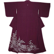 Beautiful Antique Purple Silk Tomesode Kimono with Blossoms, Birds and Wisteria Family Crest.