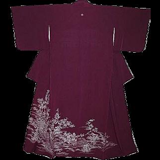 Beautiful Antique Purple Silk Tomesode Kimono with Blossoms, Birds and Wisteria Family Crest.