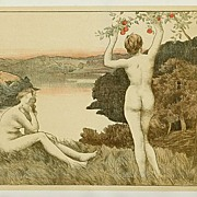 Original Signed  French Lithograph 'Automne Nue' L'Estampe Moderne series 1897