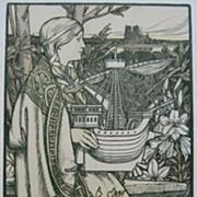 Original Signed French Stone Lithograph 'Lutece' L'Estampe Moderne series 1898.