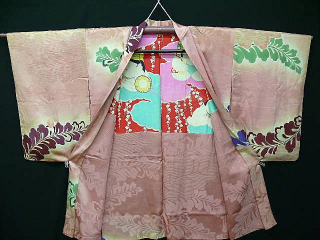 On HOLD for Christiana:Art Deco Pink Silk Feather Haori c1920.