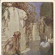 Early German Signed Mermaid and Hero Postcard.