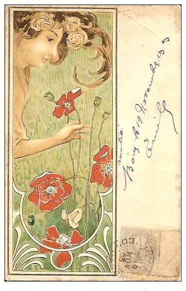 KirchnerArt Nouveau French Artist  'Girl with Poppies' Postcard 1903.