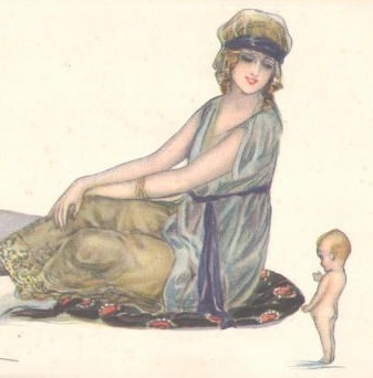 Art  Deco Italian Artist Signed Beautiful Woman & Cupid Postcard 1919.