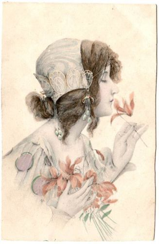 Antique Vienne UB  Art Nouveau Maiden Italian Postcard