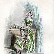 Original French Grandville Engraving 'Jasmin' 1847 from Les Fleurs Animees.