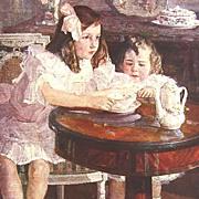 Stunning Vintage Italian Signed  Art Print  of Children c1922