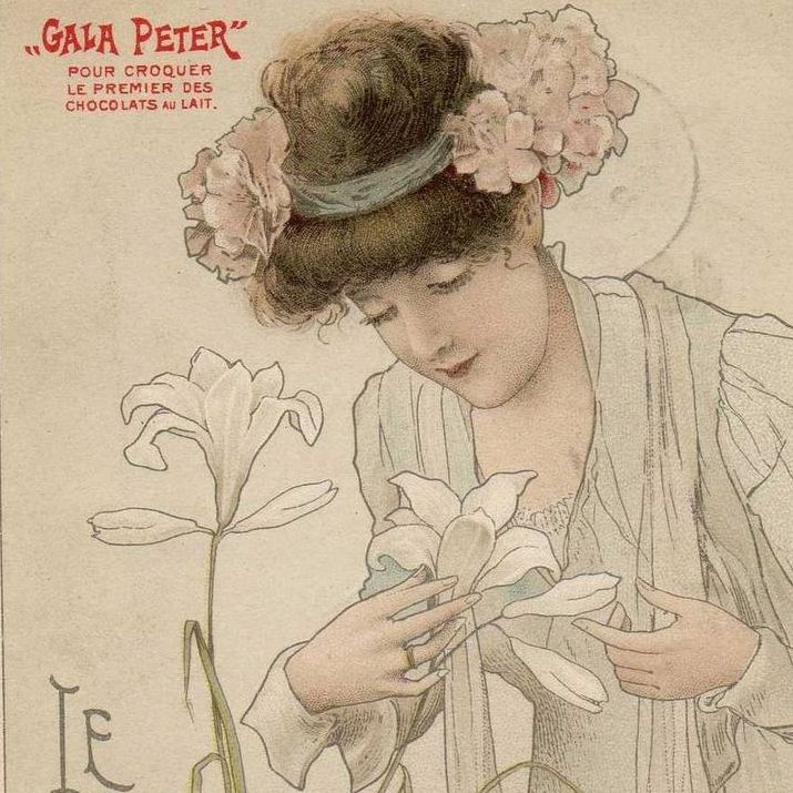Art Nouveau French 'Gala Peter' Advertising Postcard 'Le Lys' c1900.