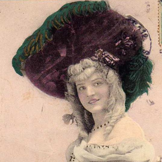 SALE: Hand Colored French Folies Bergeres Actress Real Photo Postcard 1905.
