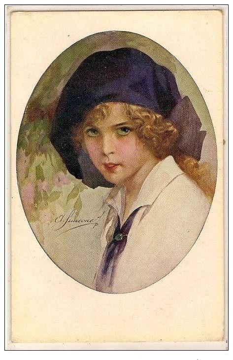 Italian Artist Signed Art Deco Postcard 1921.