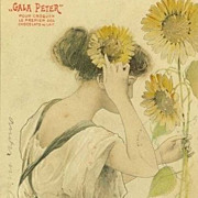 Art Nouveau French 'Gala Peter' Advertising Postcard 'Le Soleil'  Sunflower 1904.