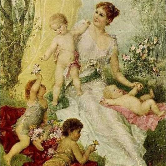 Old German Artist 'Mother and Children' Postcard.
