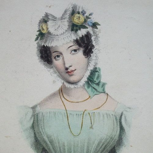 Exquisite Early 19th Century Hand Colored Engraving 'A Wife' 1828.