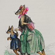 Rare Original Hand Colored Signed Grandville French Caricature Engraving 'Maman Kangourou' 1842.