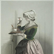 Pastel Shaded German Steel Engraving 'Curiosity' c1860.