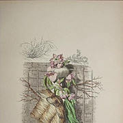 SALE: Original Grandville Signed French  Engraving 'Fleur de Pecher' by Grandville 1852.