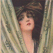 Art Deco Signed Italian 'Beautiful Woman Behind a Curtain' Postcard. - Red Tag Sale Item