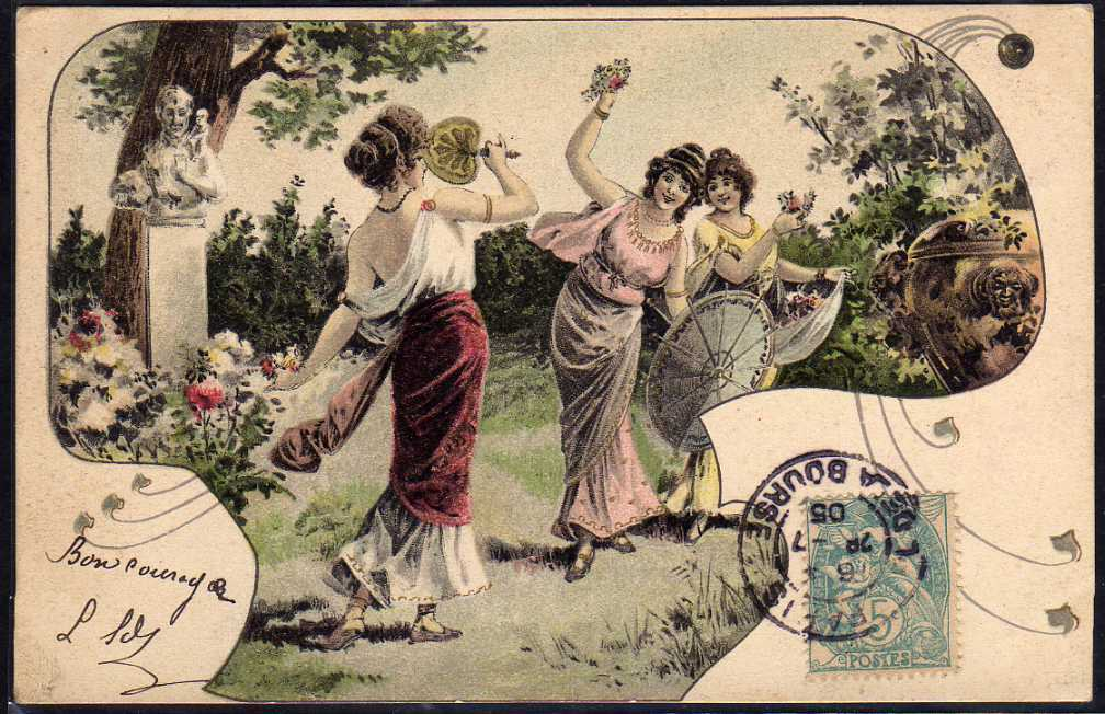 French Art Nouveau UB Vienne Postcard 1905.