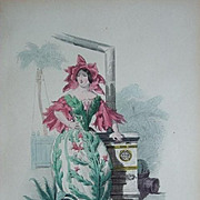 Original Signed Grandville French Engraving 'Cactus' from Les Fleurs Animees..1852.