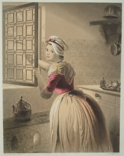 Original Pastel Shaded German Steel Engraving 'The Consent' c1860..Exquisite.