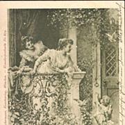 Antique German Art Nouveau 'Postillon d'Amour' Artist Postcard.