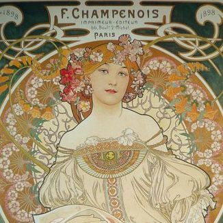 Early Vintage Alphonse Mucha 'Champenois' Poster c1970